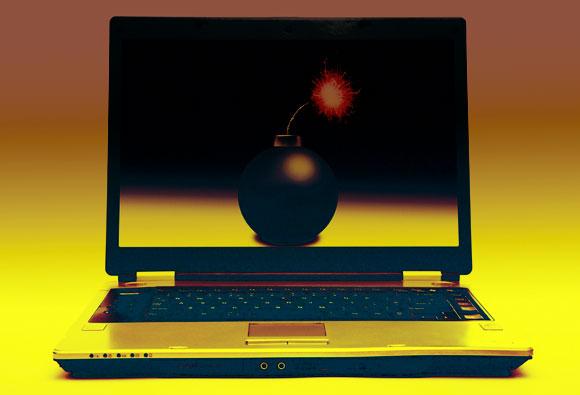 פצצה בתוך מחשב נייד