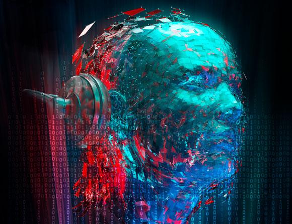 קוד מחשב מרכיב פנים עם אוזניות