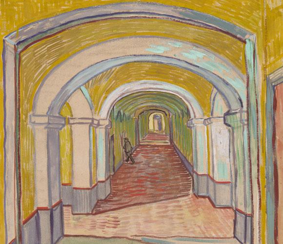 """מסדרון בבית חולים לחולי נפש"""". ציור גואש מאת וינסנט ון-גוך"""