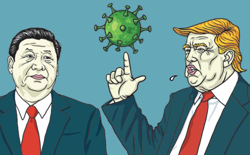 """נשיא ארה""""ב טראמפ, מנהיג סין שִי ונגיף הקורונה"""