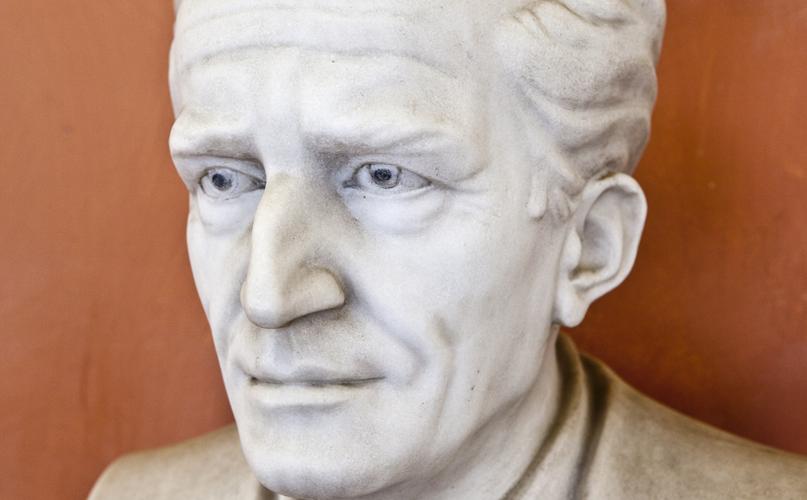 פסל של ארווין שרדינגר באוניברסיטת וינה