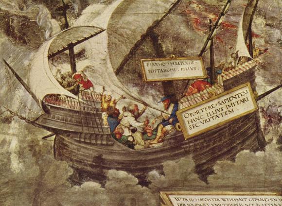 פירון מצביע על חזיר אוכל בשלווה על ספינה בים סוער